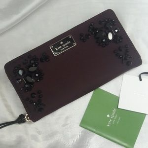 Kate Spade Deep Plum Embellished Wallet